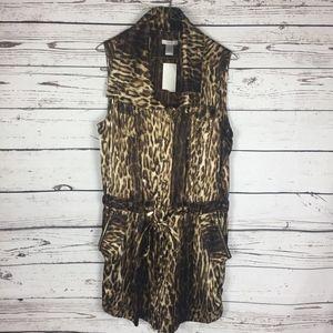 Cache Leopard Print Romper Large NWT!